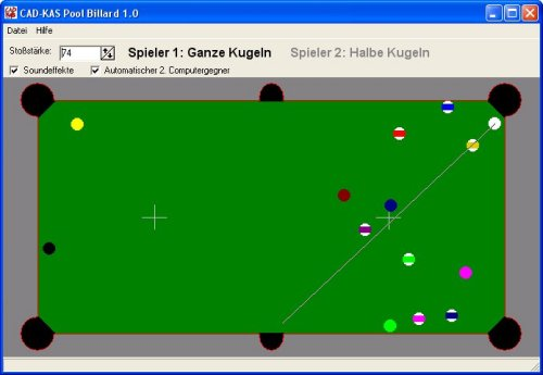 Ein Screenshot des Billiard Programms